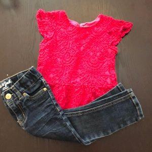 Oshkosh Lace shirt with Jeans 2T